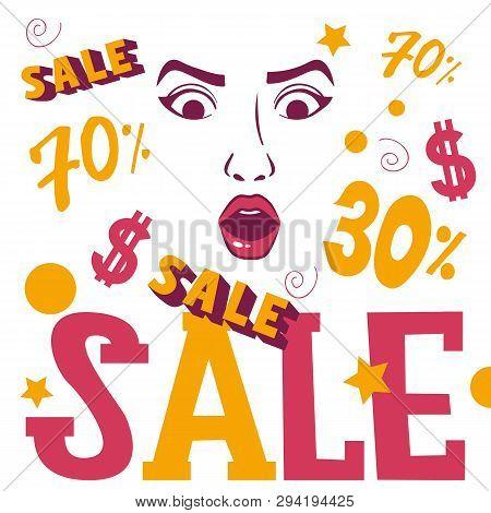 Woman Face Shopping Sale Banner Vector Illustration. Beauty Design For Salon, Make Up Artist Courses
