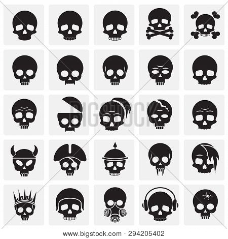 Skull Icons Set On Squres Background For Graphic And Web Design. Simple Vector Sign. Internet Concep