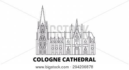 Germany, Cologne Cathedral Line Travel Skyline Set. Germany, Cologne Cathedral Outline City Vector I