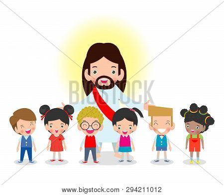 Jesus Christ And Kids, Children With Jesus Christ, Christianity Design Isolated On White Background