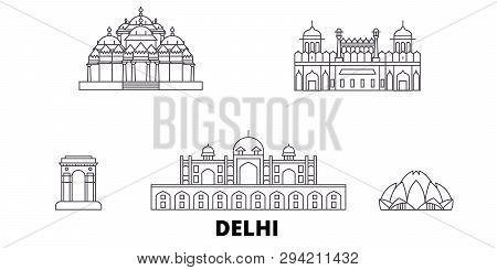 India, Delhi Line Travel Skyline Set. India, Delhi Outline City Vector Illustration, Symbol, Travel