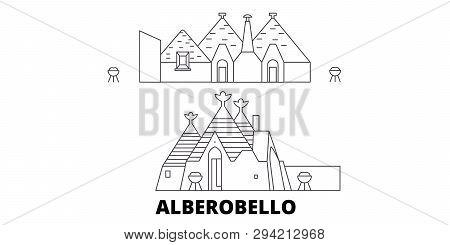 Italy, Alberobello  Line Travel Skyline Set. Italy, Alberobello  Outline City Vector Illustration, S