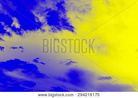 Abstract Ultra Modern Sky Background. Yellow Lemon Color And Ultramarine Blue Colors