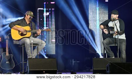 LAS VEGAS - APR 5: Rhett Akins (L) and Brantley Gilbert attend the ACM Stories, Songs & Stars at the Marquee Ballroom at the MGM Grand Hotel & Casino on April 5, 2019 in Las Vegas, Nevada.