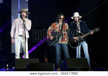 LAS VEGAS - APR 5: (L-R) Mark Wystrach, Cameron Duddy and Jess Carson of Midland attend the ACM Stories, Songs & Stars at Marquee Ballroom at the MGM Grand Hotel & Casino on April 5, 2019 in Las Vegas