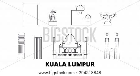 Malaysia, Kuala Lumpur Line Travel Skyline Set. Malaysia, Kuala Lumpur Outline City Vector Illustrat