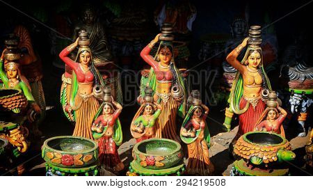 Beautiful colorful Indian crafts made with clay