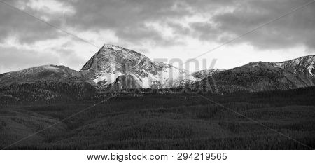 Canadian rocky mountains in black and white