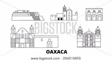 Mexico, Oaxaca Line Travel Skyline Set. Mexico, Oaxaca Outline City Vector Illustration, Symbol, Tra