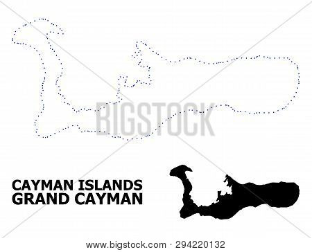 Vector Contour Map Of Grand Cayman Island With Title. Map Of Grand Cayman Island Is Isolated On A Wh