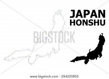 Vector Contour Map Of Honshu Island With Caption. Map Of Honshu Island Is Isolated On A White Backgr