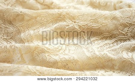 Fabric Background. Beige Lace Pattern. Texture, Close-up