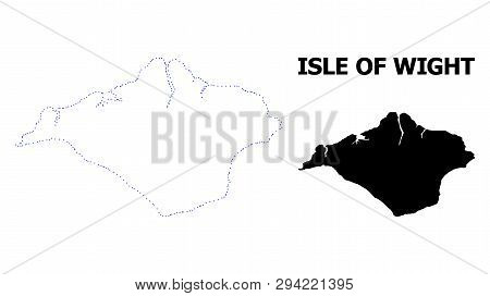 Vector Contour Map Of Isle Of Wight With Title. Map Of Isle Of Wight Is Isolated On A White Backgrou