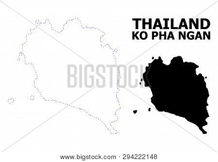 Vector Contour Map Of Ko Pha Ngan With Caption. Map Of Ko Pha Ngan Is Isolated On A White Background
