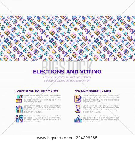 Election And Voting Concept With Thin Line Icons: Ballot Box, Inauguration, Corruption, Debate, Pres