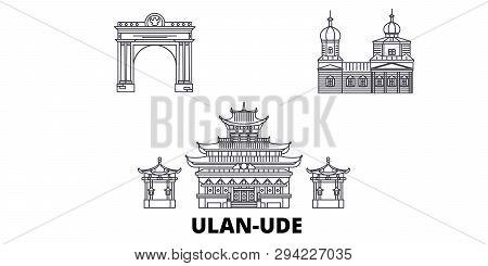 Russia, Ulan Ude Line Travel Skyline Set. Russia, Ulan Ude Outline City Vector Illustration, Symbol,