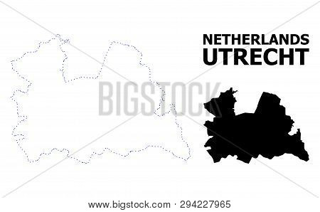 Vector Contour Map Of Utrecht Province With Title. Map Of Utrecht Province Is Isolated On A White Ba