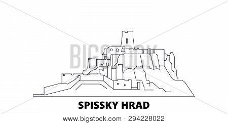Slovakia, Spissky Hrad Line Travel Skyline Set. Slovakia, Spissky Hrad Outline City Vector Illustrat