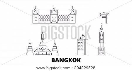 Thailand, Bangkok City Line Travel Skyline Set. Thailand, Bangkok City Outline City Vector Illustrat
