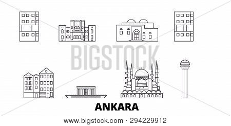 Turkey, Ankara Line Travel Skyline Set. Turkey, Ankara Outline City Vector Illustration, Symbol, Tra