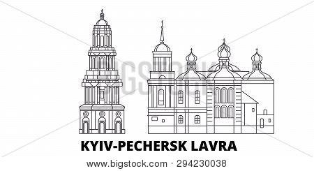Ukraine, Kyiv, Pechersk Lavra Line Travel Skyline Set. Ukraine, Kyiv, Pechersk Lavra Outline City Ve
