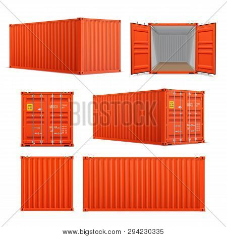 Realistic Set Of Bright Red Cargo Containers.   Front, Side Back And Perspective View.  Open And Clo