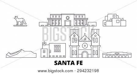 United States, Santa Fe Line Travel Skyline Set. United States, Santa Fe Outline City Vector Illustr
