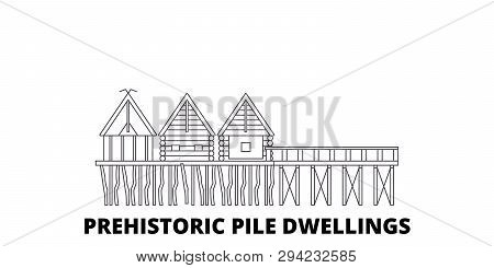 France, Prehistoric Pile Dwellings Around The Alps Landmark Line Travel Skyline Set. France, Prehist