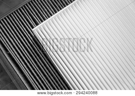 Close Up, Clean And Dirty Cabin Air Filter For Car. Car Air Filter Texture And Background