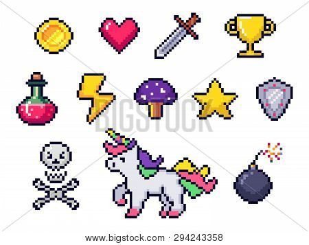 Pixel Game Items. Retro 8 Bit Games Art, Pixelated Heart And Star Icon. Gaming Pixels Icons Vector S