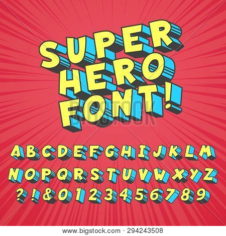Super Hero Comics Font. Comic Graphic Typography, Funny Supers Heros Alphabet And Creative Fonts Let