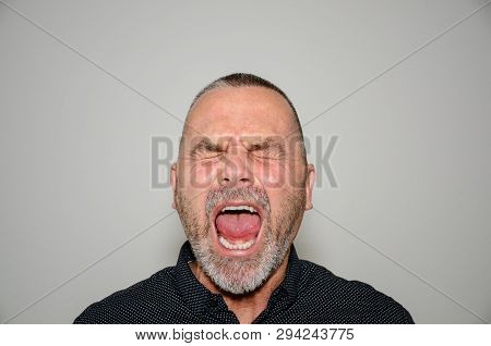 Frustrated angry middle-aged man yelling out loud to voice his annoyance with closed eyes and wide open mouth over a grey studio background poster