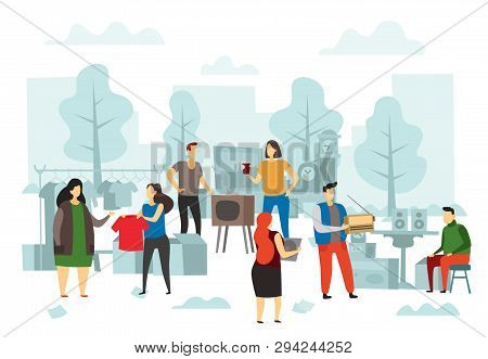 Flea Market Shopping. Fleas Bazaar, People Selling Fashion Clothes And Street Trading Flat Vector Il