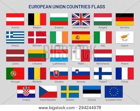 European Union Countries Flags. Europe Travel States, Eu Member Country Flag Vector Set