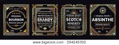 Art Deco Alcohol Label. Vintage Bourbon Scotch, Retro Brandy And Absinthe Labels Vector Illustration