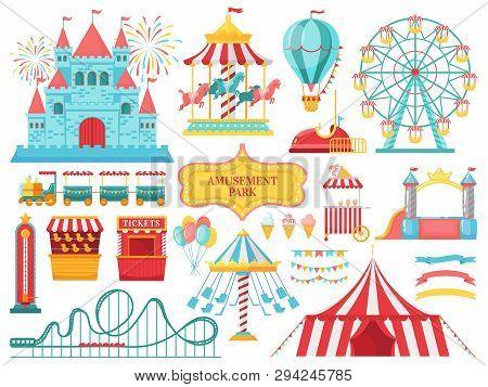 Amusement Park Attractions. Carnival Kids Carousel, Ferris Wheel Attraction And Amusing Fairground E