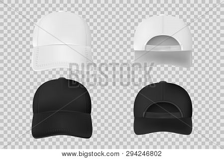 Set Of Baseball Cap Black And White Mockup. Realistic Cap Template Front And Back Vie Isolated On Tr
