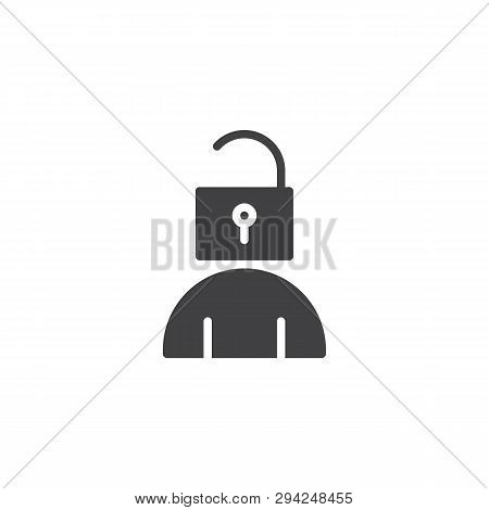 User Account Login Vector Icon. Man Head And Open Lock Filled Flat Sign For Mobile Concept And Web D