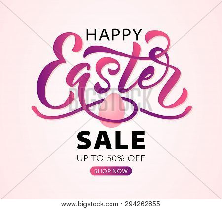 Happy Easter Text. Vector Illustration With Bunny Rabbit Ears On Mint Background. Hand Drawn Text Fo