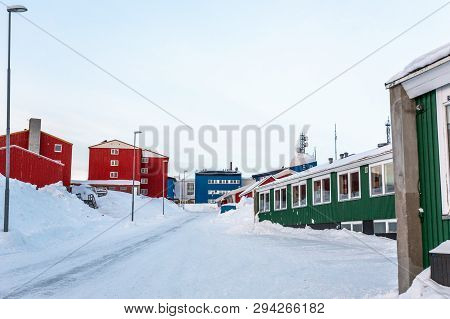 Greenlandic Street Covered In Snow With Colorful Buildings, Nuuk City Center, Greenland