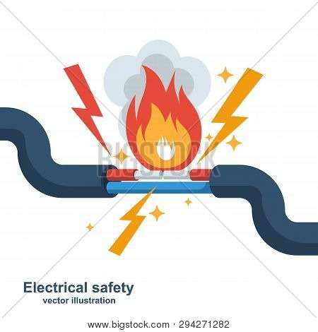 Wire Is Burning. Fire Wiring. Faulty Damaged Cable. Fire From Overload. Electrical Safety Concept. V