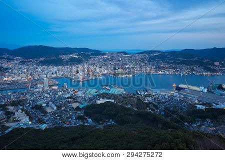 Night View Of Nagasaki City Skyline In Japan.