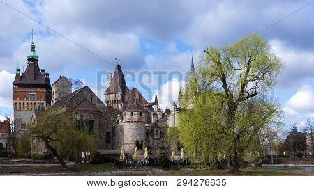 Vajdahunyad Castle In Spring With Trees In Budapest