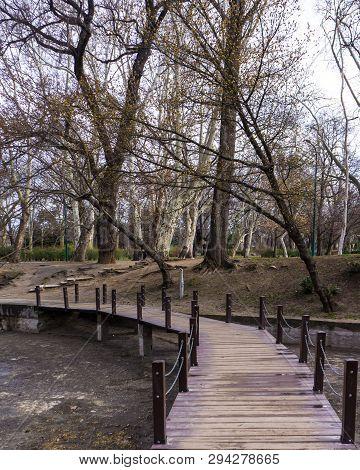 Small Bridge Over River In Vajdahunyad Castle