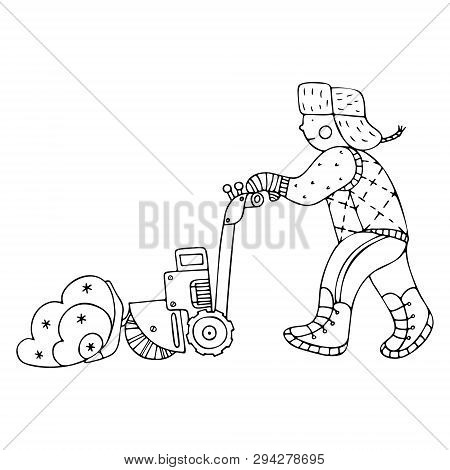 A man clearing the snow with an electric shovel with a sweeper. Fine for ice and snow removal services promotion, articles abot de-icing equipment and snow clearing work. poster