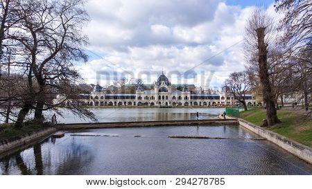 Budapest, Hungary. Boating Lake In Vajdahunyad Castle