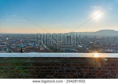 Schlossberg Castle Mountain In Graz. Map Wall With Directions Of Cities All Over The World. Graz Cit