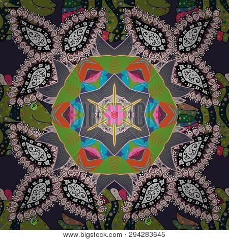 Of Doodle Elements. Seamless Flower Pattern Can Be Used For Sketch, Website Background, Wrapping Pap
