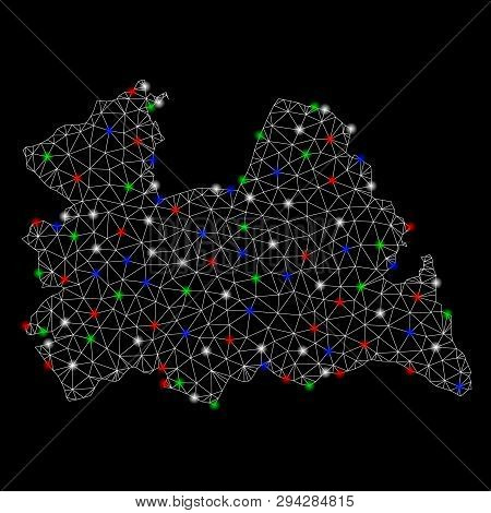 Bright Mesh Utrecht Province Map With Lightspot Effect. Wire Carcass Triangular Mesh In Vector Forma