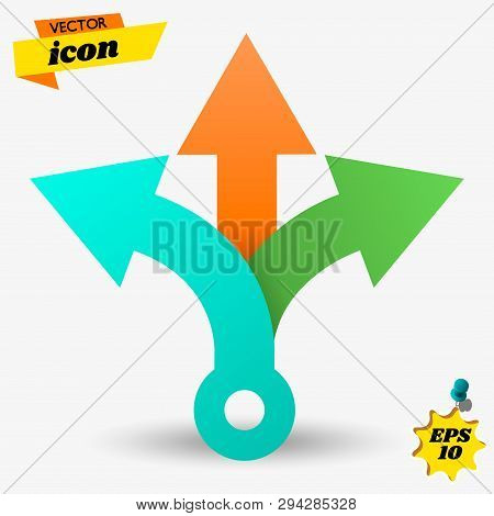 Three Way Direction Arrows. Simple Color Triple Arrow Heads Sign.